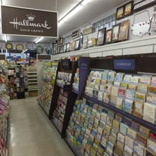 shelves filled with Hallmark cards